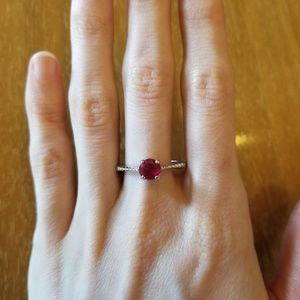 vintage sterling silver ruby ring size 10.5